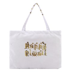 Happy Diwali Gold Golden Stars Star Festival Of Lights Deepavali Typography Medium Tote Bag