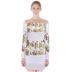 Happy Diwali Gold Golden Stars Star Festival Of Lights Deepavali Typography Long Sleeve Off Shoulder Dress