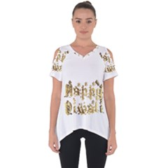 Happy Diwali Gold Golden Stars Star Festival Of Lights Deepavali Typography Cut Out Side Drop Tee