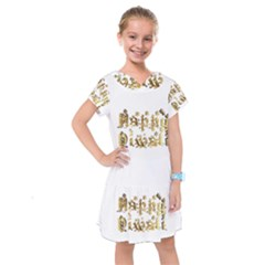Happy Diwali Gold Golden Stars Star Festival Of Lights Deepavali Typography Kids  Drop Waist Dress