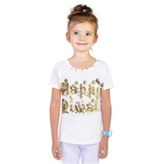 Happy Diwali Gold Golden Stars Star Festival Of Lights Deepavali Typography Kids  One Piece Tee