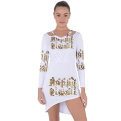 Happy Diwali Gold Golden Stars Star Festival Of Lights Deepavali Typography Asymmetric Cut Out Shift Dress