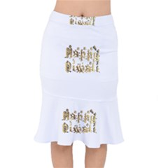 Happy Diwali Gold Golden Stars Star Festival Of Lights Deepavali Typography Mermaid Skirt
