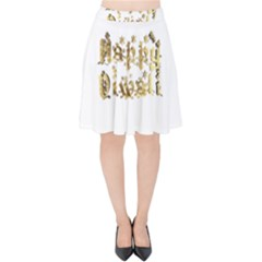 Happy Diwali Gold Golden Stars Star Festival Of Lights Deepavali Typography Velvet High Waist Skirt