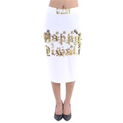 Happy Diwali Gold Golden Stars Star Festival Of Lights Deepavali Typography Velvet Midi Pencil Skirt