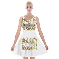 Happy Diwali Gold Golden Stars Star Festival Of Lights Deepavali Typography Velvet Skater Dress