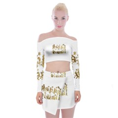 Happy Diwali Gold Golden Stars Star Festival Of Lights Deepavali Typography Off Shoulder Top With Mini Skirt Set