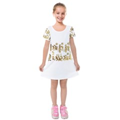 Happy Diwali Gold Golden Stars Star Festival Of Lights Deepavali Typography Kids  Short Sleeve Velvet Dress