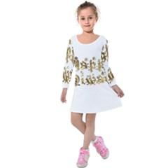 Happy Diwali Gold Golden Stars Star Festival Of Lights Deepavali Typography Kids  Long Sleeve Velvet Dress