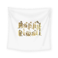 Happy Diwali Gold Golden Stars Star Festival Of Lights Deepavali Typography Square Tapestry (small)