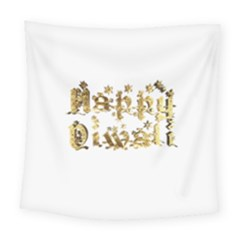 Happy Diwali Gold Golden Stars Star Festival Of Lights Deepavali Typography Square Tapestry (large)