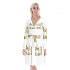 Happy Diwali Gold Golden Stars Star Festival Of Lights Deepavali Typography Long Sleeve Velvet Front Wrap Dress