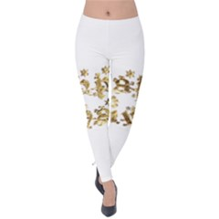 Happy Diwali Gold Golden Stars Star Festival Of Lights Deepavali Typography Velvet Leggings