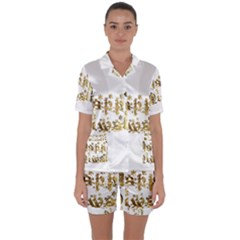 Happy Diwali Gold Golden Stars Star Festival Of Lights Deepavali Typography Satin Short Sleeve Pyjamas Set