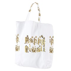 Happy Diwali Gold Golden Stars Star Festival Of Lights Deepavali Typography Giant Grocery Zipper Tote