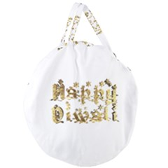 Happy Diwali Gold Golden Stars Star Festival Of Lights Deepavali Typography Giant Round Zipper Tote