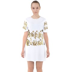 Happy Diwali Gold Golden Stars Star Festival Of Lights Deepavali Typography Sixties Short Sleeve Mini Dress