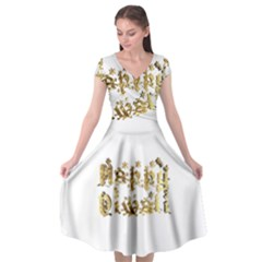 Happy Diwali Gold Golden Stars Star Festival Of Lights Deepavali Typography Cap Sleeve Wrap Front Dress