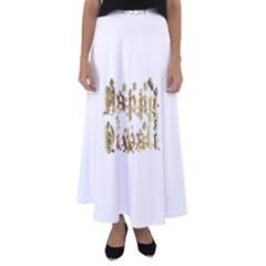Happy Diwali Gold Golden Stars Star Festival Of Lights Deepavali Typography Flared Maxi Skirt
