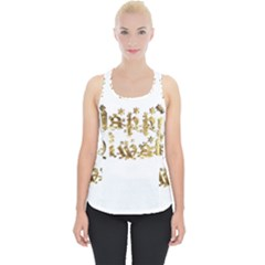 Happy Diwali Gold Golden Stars Star Festival Of Lights Deepavali Typography Piece Up Tank Top