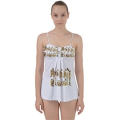 Happy Diwali Gold Golden Stars Star Festival Of Lights Deepavali Typography Babydoll Tankini Set