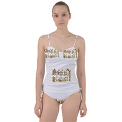 Happy Diwali Gold Golden Stars Star Festival Of Lights Deepavali Typography Sweetheart Tankini Set