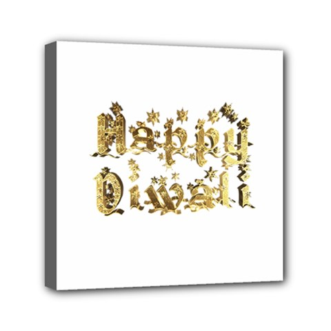 Happy Diwali Gold Golden Stars Star Festival Of Lights Deepavali Typography Mini Canvas 6  X 6