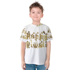 Happy Diwali Gold Golden Stars Star Festival Of Lights Deepavali Typography Kids  Cotton Tee
