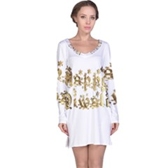 Happy Diwali Gold Golden Stars Star Festival Of Lights Deepavali Typography Long Sleeve Nightdress