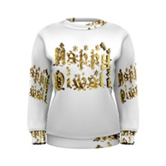 Happy Diwali Gold Golden Stars Star Festival Of Lights Deepavali Typography Women s Sweatshirt