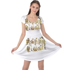 Happy Diwali Gold Golden Stars Star Festival Of Lights Deepavali Typography Cap Sleeve Dress