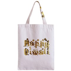 Happy Diwali Gold Golden Stars Star Festival Of Lights Deepavali Typography Zipper Classic Tote Bag
