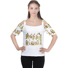 Happy Diwali Gold Golden Stars Star Festival Of Lights Deepavali Typography Cutout Shoulder Tee