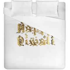 Happy Diwali Gold Golden Stars Star Festival Of Lights Deepavali Typography Duvet Cover Double Side (king Size)