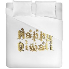 Happy Diwali Gold Golden Stars Star Festival Of Lights Deepavali Typography Duvet Cover Double Side (california King Size)