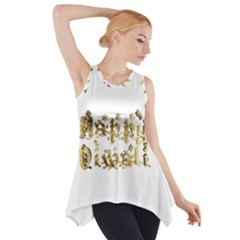 Happy Diwali Gold Golden Stars Star Festival Of Lights Deepavali Typography Side Drop Tank Tunic