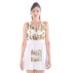Happy Diwali Gold Golden Stars Star Festival Of Lights Deepavali Typography Scoop Neck Skater Dress