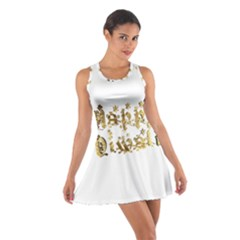 Happy Diwali Gold Golden Stars Star Festival Of Lights Deepavali Typography Cotton Racerback Dress