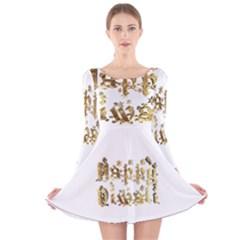Happy Diwali Gold Golden Stars Star Festival Of Lights Deepavali Typography Long Sleeve Velvet Skater Dress