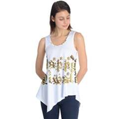 Happy Diwali Gold Golden Stars Star Festival Of Lights Deepavali Typography Sleeveless Tunic