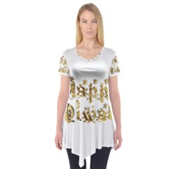 Happy Diwali Gold Golden Stars Star Festival Of Lights Deepavali Typography Short Sleeve Tunic