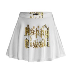 Happy Diwali Gold Golden Stars Star Festival Of Lights Deepavali Typography Mini Flare Skirt