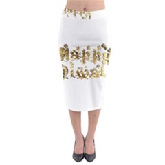 Happy Diwali Gold Golden Stars Star Festival Of Lights Deepavali Typography Midi Pencil Skirt