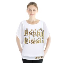 Happy Diwali Gold Golden Stars Star Festival Of Lights Deepavali Typography Blouse