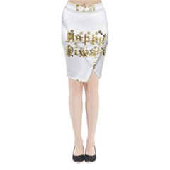 Happy Diwali Gold Golden Stars Star Festival Of Lights Deepavali Typography Midi Wrap Pencil Skirt