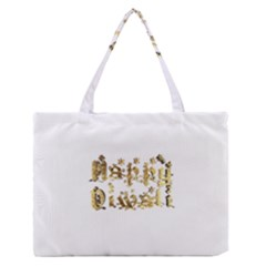 Happy Diwali Gold Golden Stars Star Festival Of Lights Deepavali Typography Zipper Medium Tote Bag