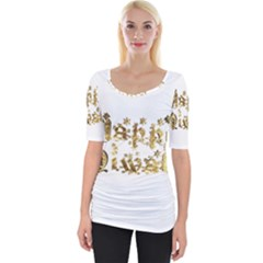 Happy Diwali Gold Golden Stars Star Festival Of Lights Deepavali Typography Wide Neckline Tee