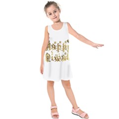 Happy Diwali Gold Golden Stars Star Festival Of Lights Deepavali Typography Kids  Sleeveless Dress