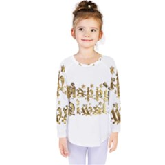 Happy Diwali Gold Golden Stars Star Festival Of Lights Deepavali Typography Kids  Long Sleeve Tee