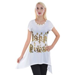 Happy Diwali Gold Golden Stars Star Festival Of Lights Deepavali Typography Short Sleeve Side Drop Tunic